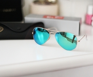 sunglasses, ray ban, and blue image