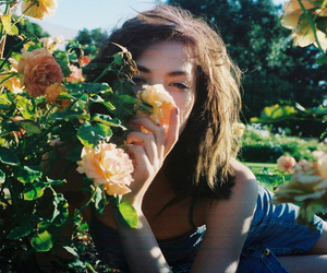 girl, flowers, and nature image