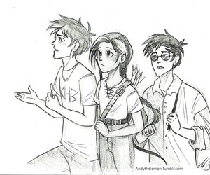 katniss, happy potter, and percy jakson image