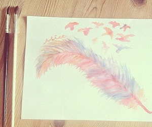 art, feather, and pretty image