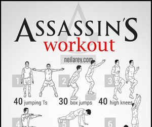 workout, fit, and assassin image