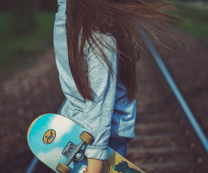 girl, skate, and hair image