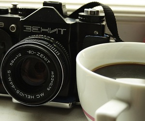 camera, cup, and window image