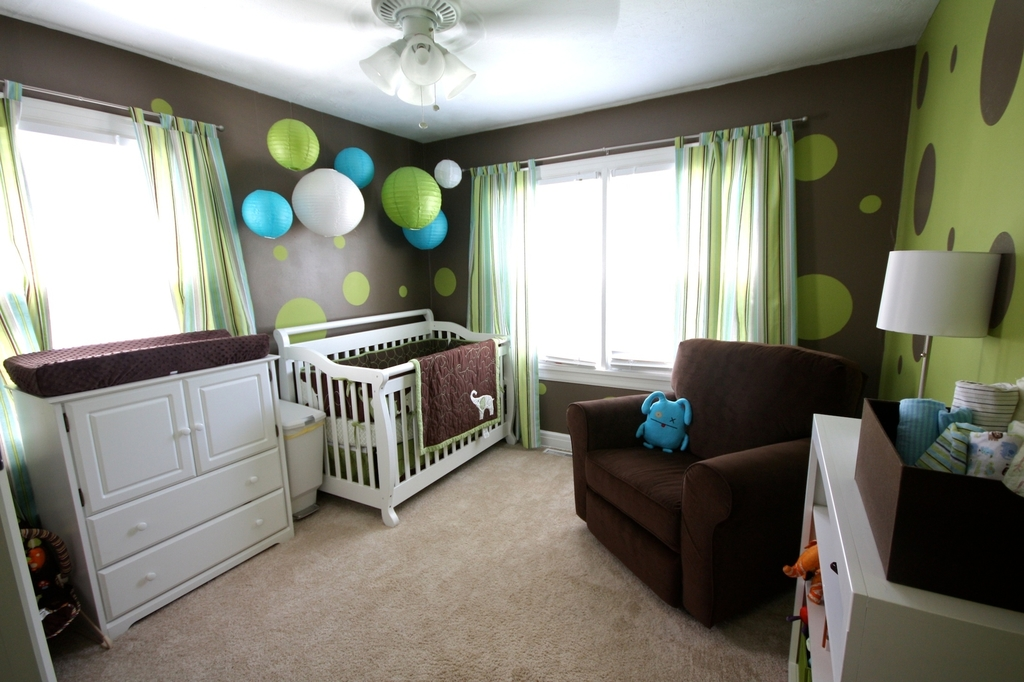 Admirable Brown And Olive Green Baby Boys Nursery Room
