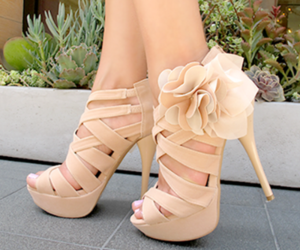 cream, high heels, and shoes image