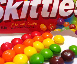 candy, skittles, and rainbow image