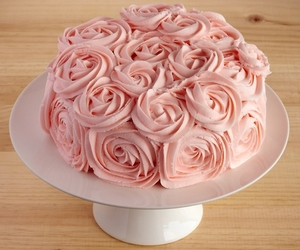 cake, rose, and pink image