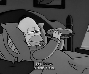 black and white, the simpsons, and food image