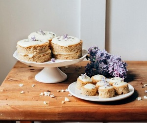 cake, earl grey, and lavender image