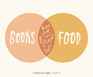 book, food, and the fault in our stars image
