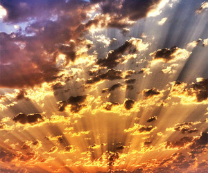 clouds, sun, and sunset image