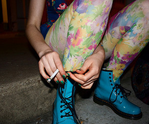 blue, smoking, and blue boots image