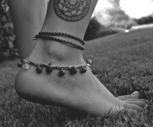 tattoo, feet, and black and white image