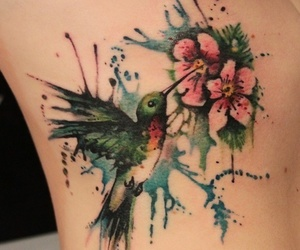 tattoo, flowers, and bird image