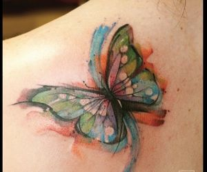 butterfly, tattoo, and watercolor image