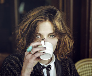 eyes, hair, and coffee image