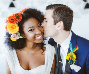 wedding, love, and interracial image