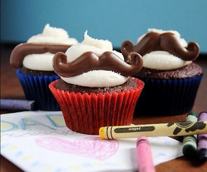cupcake, food, and moustache image