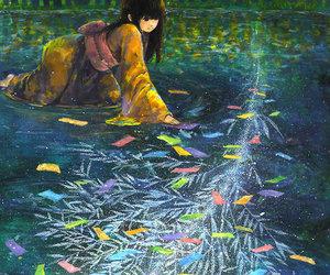 anime girl, bamboo, and colorful image