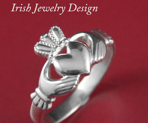 heart ring, celtic ring, and claddagh ring image