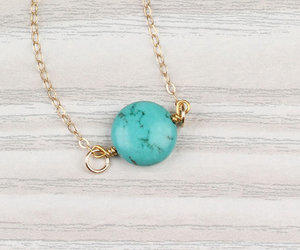 best friend necklace, turquoise necklace, and gold necklace image
