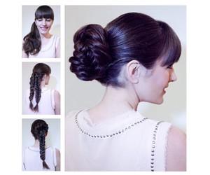 bangs, braid, and bun image