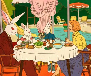 family, illustration, and rabbits image