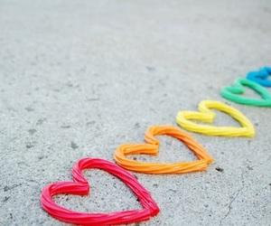 heart, rainbow, and hearts image