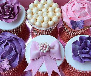 cupcake, purple, and pink image