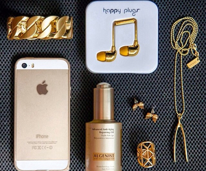 gold, iphone, and headphones image