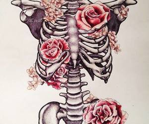 flowers, skeleton, and rose image