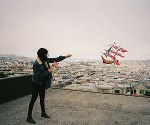 city, girl, and kite image