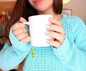blouse, mug, and tea image