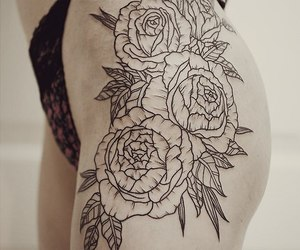 flowers, leg tattoo, and rose image
