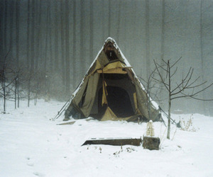 winter, tent, and snow image