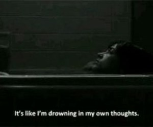 drowning, thoughts, and sad image
