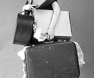 girl, suitcase, and trip image