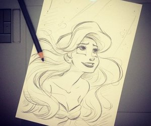 ariel, disney, and art image