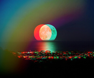 beach, color, and moon image