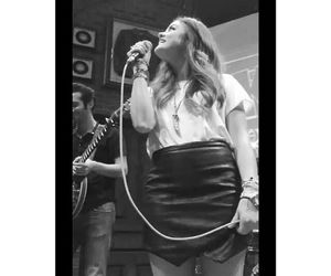 black and white, singing, and lucy hale image