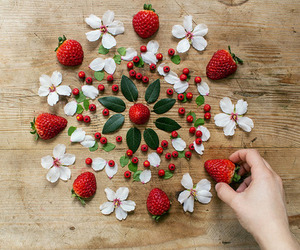 strawberry, flowers, and fruit image