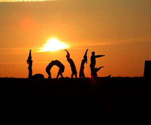 love, sunset, and people image