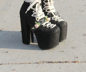 black, roses, and boots image
