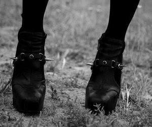 black, boots, and heels image