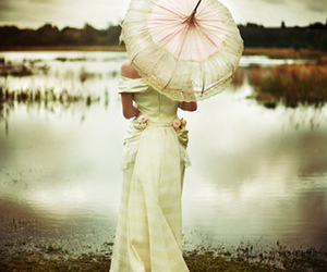 umbrella, dress, and woman image