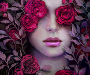 rose, art, and girl image