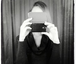 black and white, mirror, and selfie image