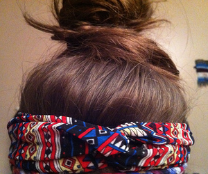 hair, brunette, and bun image