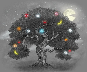 tree, pacman, and art image