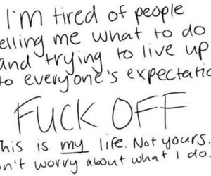 fuck off, happy, and quote image